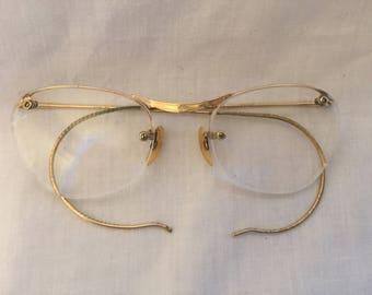 Vintage Algha Rimway Gold Spectacle/glasses frame