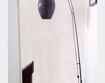 COCOON lamp braided bamboo - adjustable height 205 cm or 220 cm - black lacquered shade - H 43 cm x 28 cm Ø