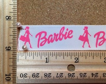 Pink and White Barbie 7/8 inch Grosgrain Ribbon