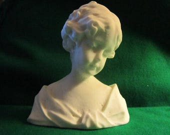 Antique  Parian Bust of Girl Lady  Bisque Scupture Statue