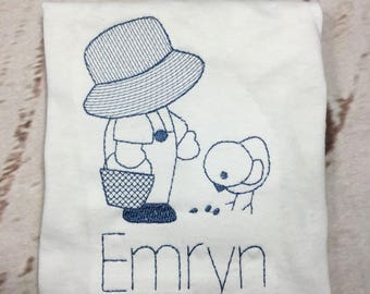 Easter chick Sun Bonnet Sam Vintage stitch short/long sleeve shirt with name Toddler and Youth size FREE SHIPPING