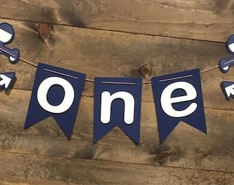 Anchor ONE highchair banner/First Birthday/Boy Birthday/ ONE Banner/ Nautical Birthday/ Anchor Banner