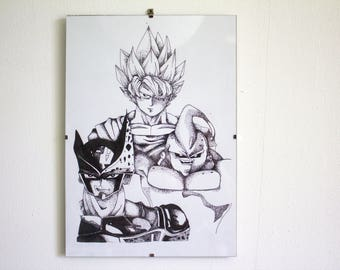 Dragon ball Z dotwork drawing ink - print - framed glass 21x219.7cm