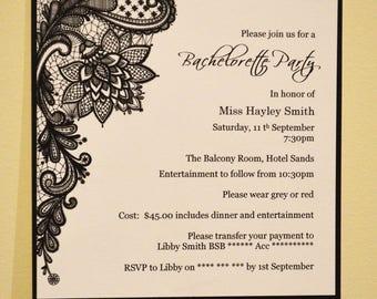 Invitation: Set of 20, Black and white Lace Print