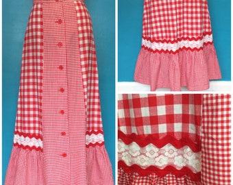 1970s Red & White Gingham Folk Prairie Skirt
