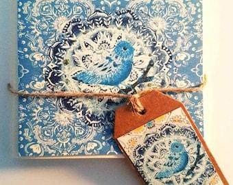Decorative bird greeting/note card x4