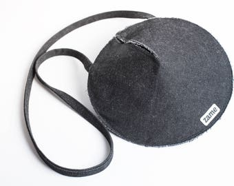 Handmade black circle bag