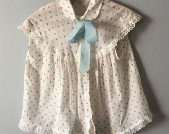Vintage red white blue spotted bed blouse with ribbon