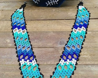 """Glass beaded necklace """"Blue Hill"""" style handmade S & C Huicholes Creations"""