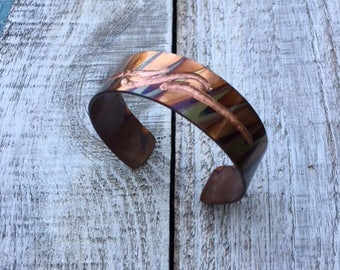 Hand engraved, flame painted copper bracelet