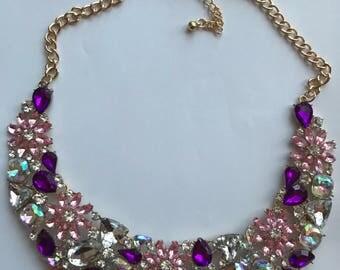 Purple Pink & Silver Flower Bib Statement Necklace