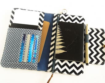 Passport Wallet, Travel Wallet, Family Passport Holder in Black Chevron, Passport Organizer To Fit Up to Four Passports - Made To Order