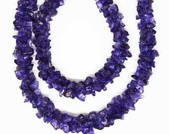 Natural Purple Amethyst Smooth Chips Nuggets 5x3,6x4, 24 inch Strand