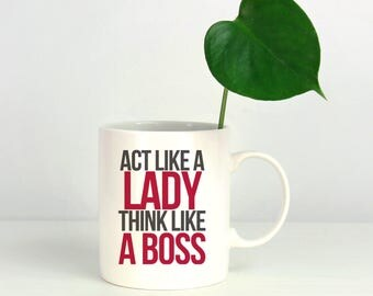 Girl Boss Mug - Personalized Ceramic - Mug Cup - Boss Gift - Business Owner Gift - Gift For Her - Present - Think Like A Boss - Attitude