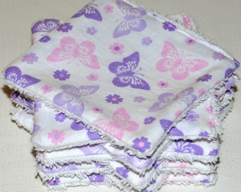 "set of 8 wipes washable cotton and sponge ""butterflies"""
