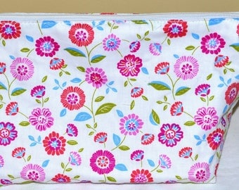 "lined pouch Tote pattern ""flowers"""