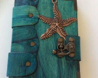 Hand Made Blue Wrinkled Leather Sketchbook Diary Journal Starfish Pendant