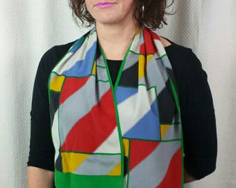 CHRISTIAN DIOR geometric pattern vintage multi-coloured silk scarf.