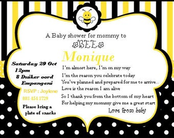 Bee baby shower digital invitation