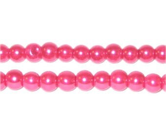 6mm Round Magnolia Glass Pearl Bead, approx 78 beads