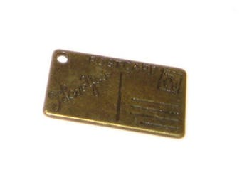 16 x 26mm Bronze I LOVE YOU Postcard Charm - 4 charms