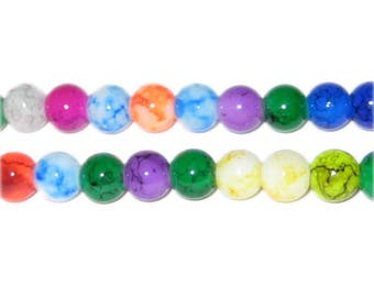 """6mm Round Color Marble-Style Glass Bead, 16"""" string"""
