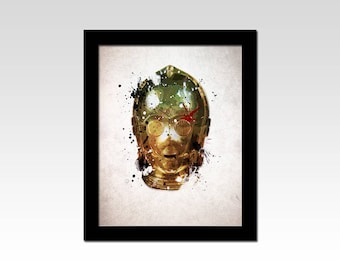 Star Wars inspired C3PO Droid abstract portrait print