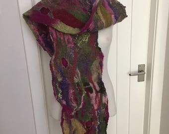 Long felted scarf in Pink, purple and greens.