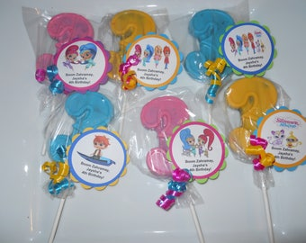 12 Shimmer and Shine 3rd Birthday Party Favor Gourmet Chocolate lollipops with custom tags