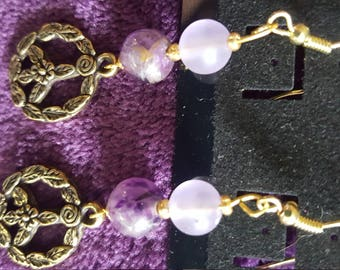 Peace Sign Earrings with Purple Stone Beads