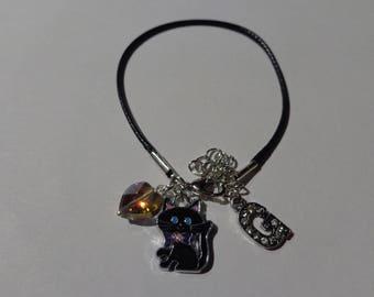 """G"" initial black waxed cord bracelet"