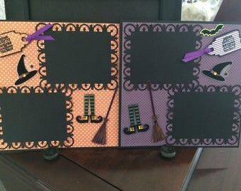 Halloween pre-made Scrapbook page, 8 x 8 inch, ready for 2/ 3 x 4 inch photos, , perfect to display Halloween photos, Happy October 31,