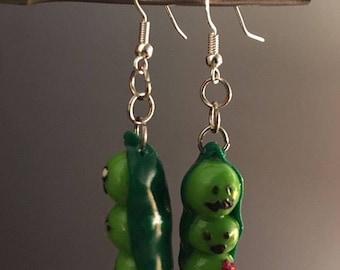 Peas in a pod clay earrings