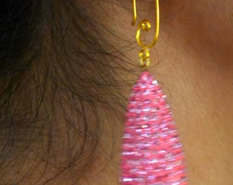 Tear Drop Bright pink Lac Earing