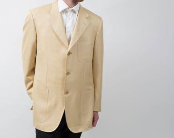 "Mens  Ravazzolo Sports Jacket Blazer / Vintage Large Beige Camel ""Arte Della Sartoria"" Suit Coat"