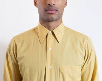 Vintage Yellow Dress Shirt / Mens Arrow Long Sleeved Button up Causal Office Shirt