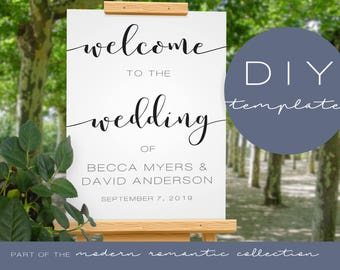 Printable Wedding Welcome Sign - Modern Romantic Collection - Printable Wedding Sign - DIY Printable Black and White