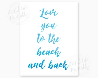 BEACH DIGITAL ART, Beach Decor, Coastal Home Wall Art, Beach Art Printable, Beach Quote, Blue Watercolor Beach Art, Instant Download