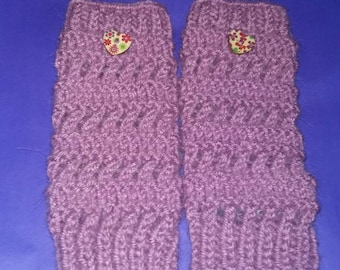 Lilac hand knitted wrist warmers with button detail