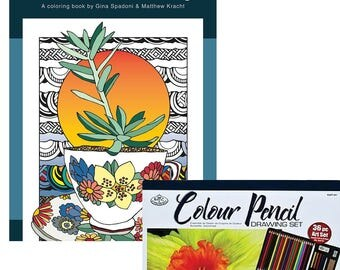Coloring Book and Colored Pencil Drawing Set Bundle: Succulent Serenity Coloring Book & 36-piece Color Pencil Drawing Set