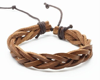 Leather Beaded Bracelet | Personal Gift Message |  | Brown | Unisex Bracelet | Gift for him | Gift For Her | FREE SHIPPING