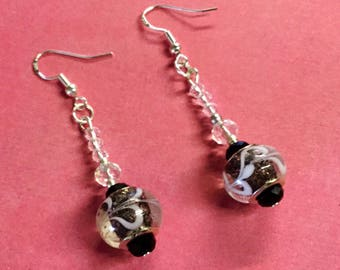Stunning crystal earrings, pierced ears ,silver 925 wires ,pandora style glass beads.