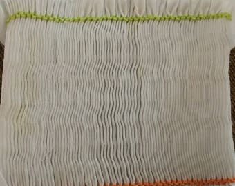 """Ready to smock pleated insert completely backsmocked for you this has orange and lime borders 5x4"""""""