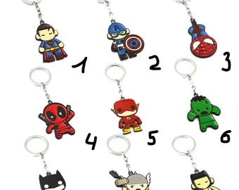 Avengers keychain, marvel, thor, captain america, hulk, the flash, deadpool, batman, spiderman