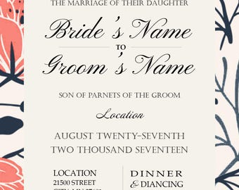 Formal Floral Wedding Invitation