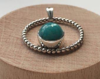 Circle pendant with amazonite gemstone