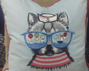 Nautical Kitten Embroidered Pillow