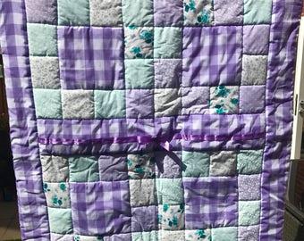 Beautiful Bespoke Handmade Patchwork Cot Quilt