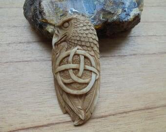 Eagle Celtic Bone Pendant, Brown Eagle, Bali Bone Carving EC01