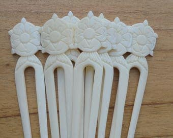 Flower Bone Hair Sticks, Hair Pin, Hair Fork, 2 Prongs Hair Accessories HS88